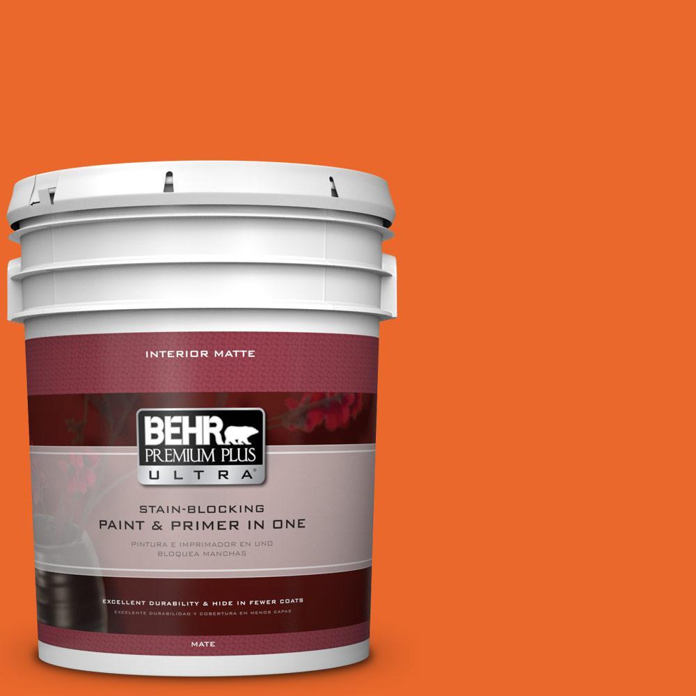 5 gal. #220B-7 Electric Orange Flat/Matte Interior Paint