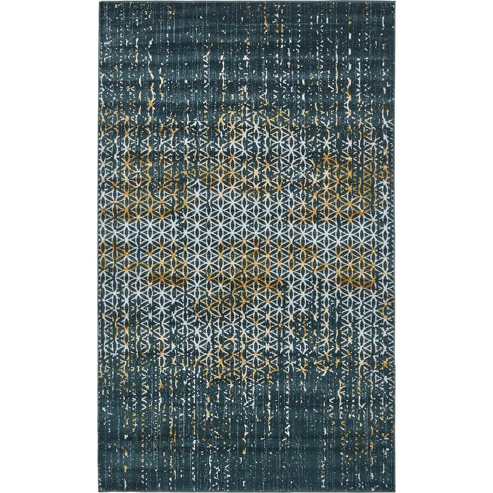 Unique Loom Mirage Teal 5 Ft. X 8 Ft. Area Rug-3130928