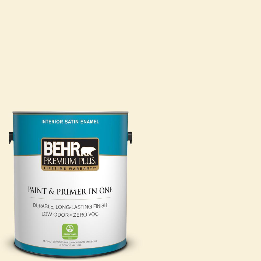 BEHR Premium Plus 1-gal. #W-D-220 Vanilla Custard Zero VOC Satin Enamel Interior Paint