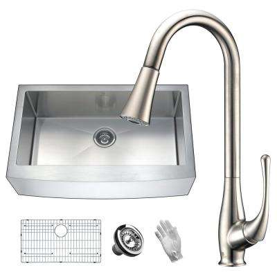 Elysian Farmhouse Stainless Steel 36 in. Single Bowl Kitchen Sink with Faucet in Brushed Nickel