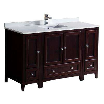 Oxford 54 in. Bath Vanity in Mahogany with Quartz Stone Vanity Top in White with White Basin