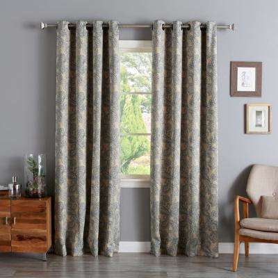 96 in. L Polyester  Paisley Blue Stitch Blackout Curtains (2-Pack)