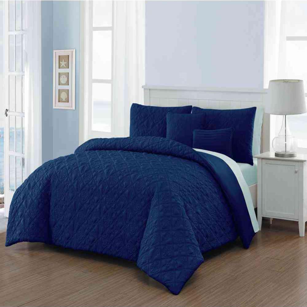 Del Ray 9-Piece Navy/Light Blue King Quilt Set