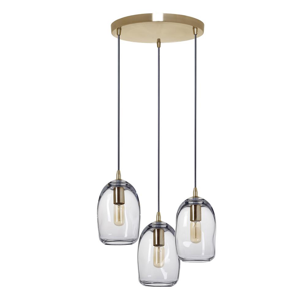 Casamotion 6 in. W x 9 in. H 3-Light Brass Organic Contemporary Hand Blown Glass Chandelier with Clear Glass Shades