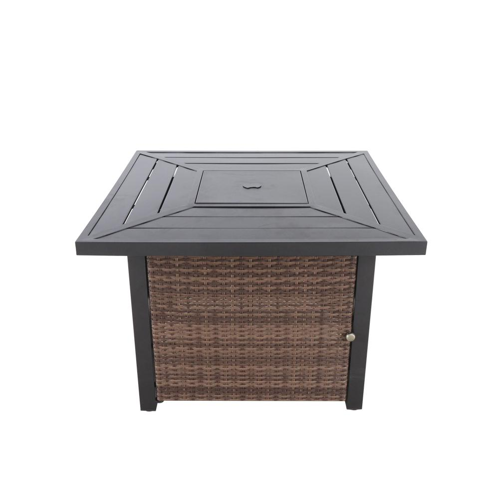 Hampton Bay Beacon Park 36 in. Square Steel LPG Fire Table with Wicker Base