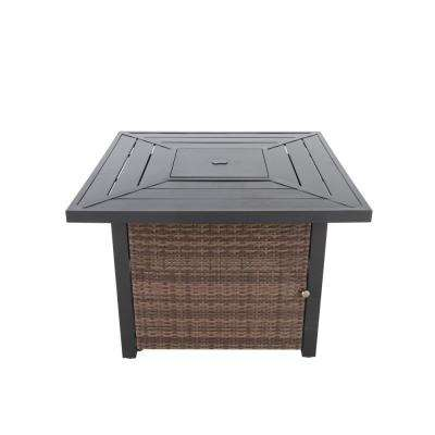 Beacon Park 36 in. Square Steel LPG Fire Table with Wicker Base