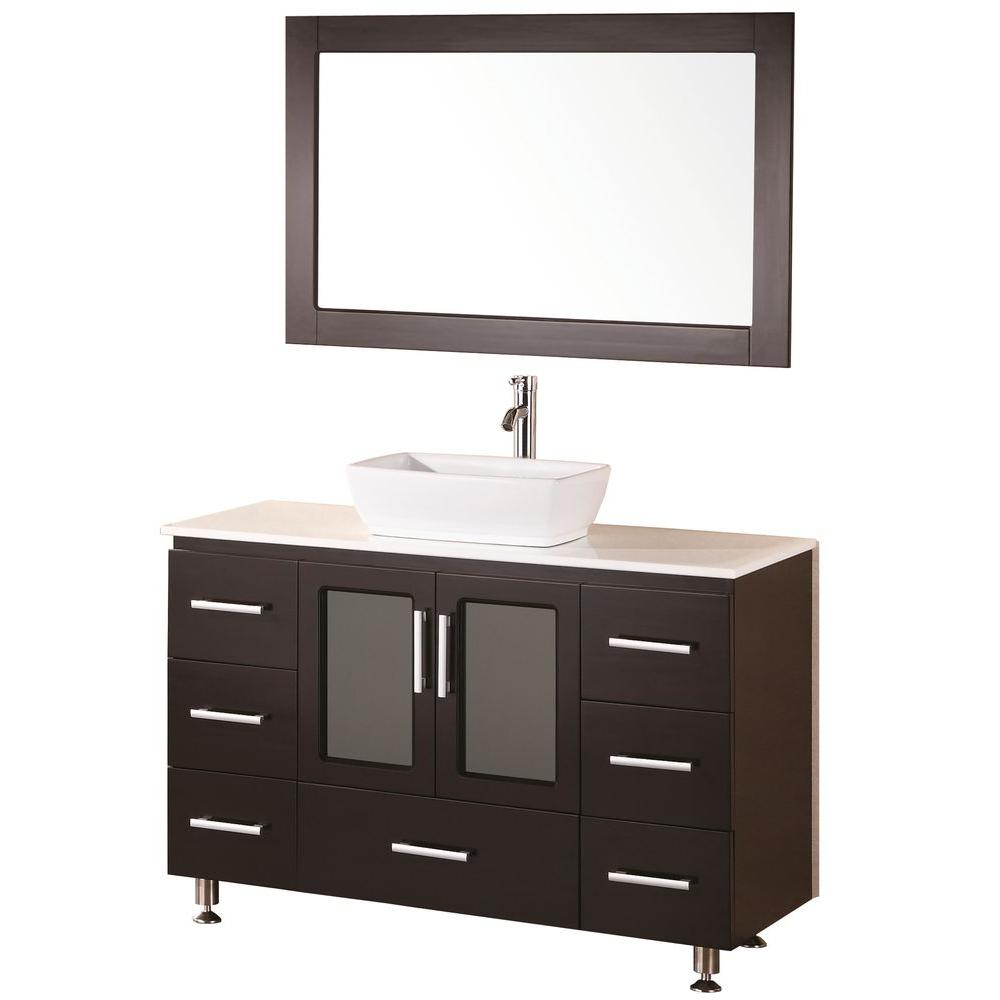 Design Element Stanton 48 in. W x 20 in. D Vanity in Espresso with Composite Stone Vanity Top and Mirror in White