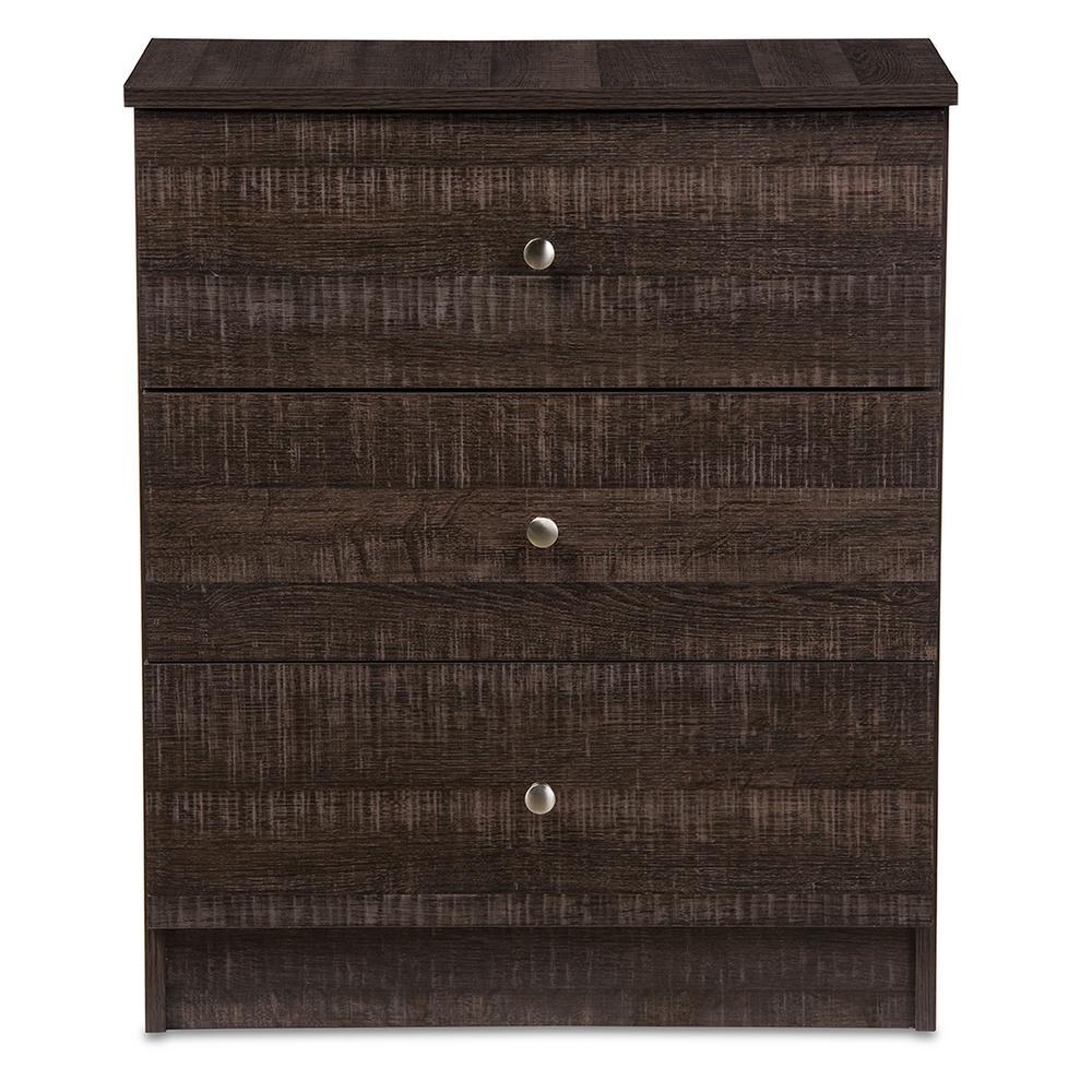 Decon 3-Drawer Dark Brown Wood Chest