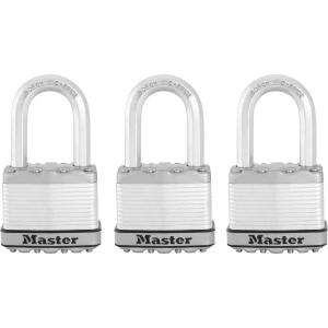 Master Lock Magnum 2 inch Laminated Steel Padlock with 1-1/2 inch Shackle (3-Pack) by Master Lock