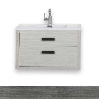 31.5 in. W x 19.3 in. H Bath Vanity in Ash Gray with Resin Vanity Top in White with White Basin