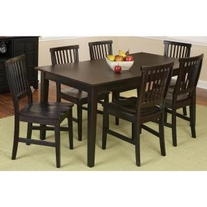 Arts and Crafts 7-Piece Black Rectangular Dining Set