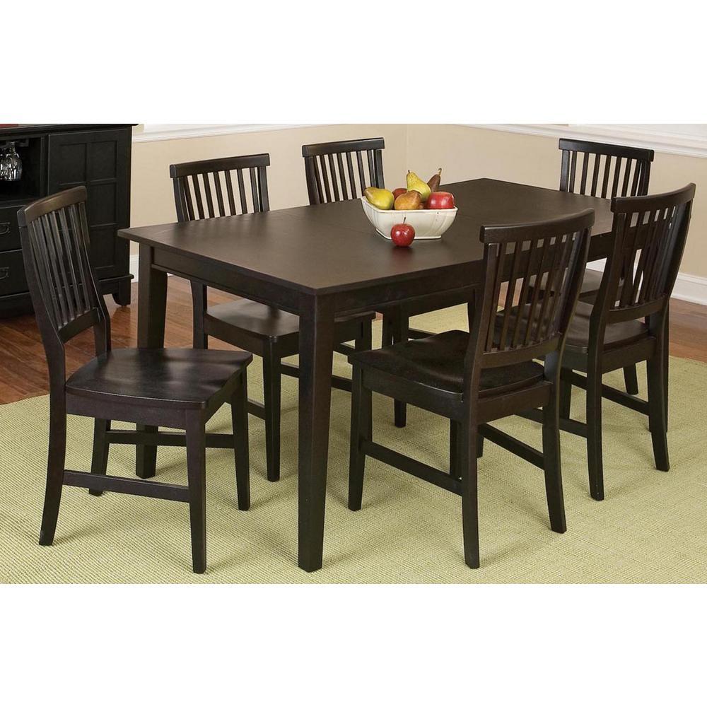 Arts and Crafts 7-Piece Black Rectangular Dining Set