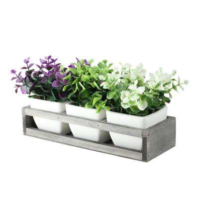 6.5 in. Decorative Foliage in Off White Petite Vase with Distressed Wood Tray