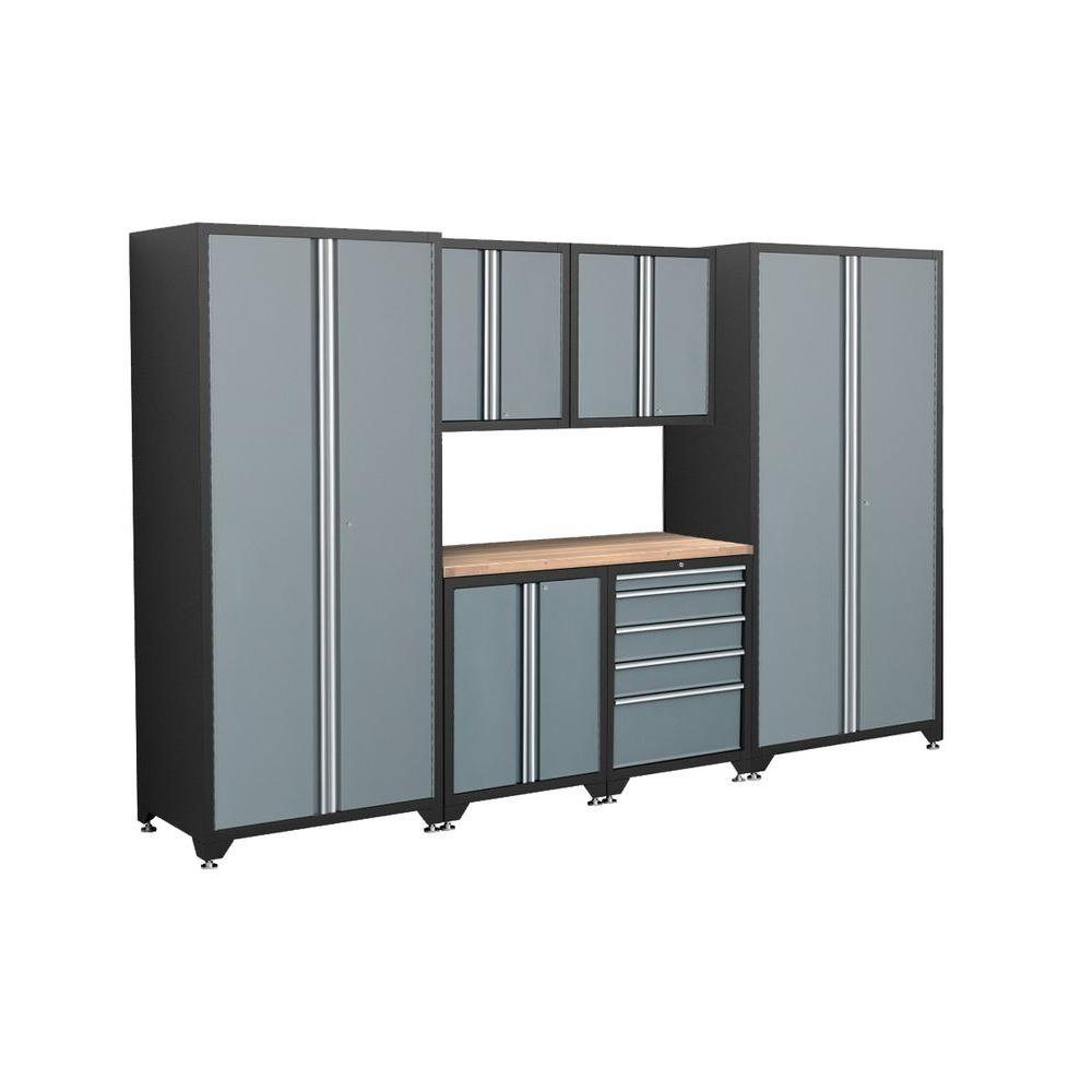 NewAge Products Pro Series 83 in. H x 128 in. W x 24 in. D Welded Steel Cabinet Set in Grey (7-Piece)