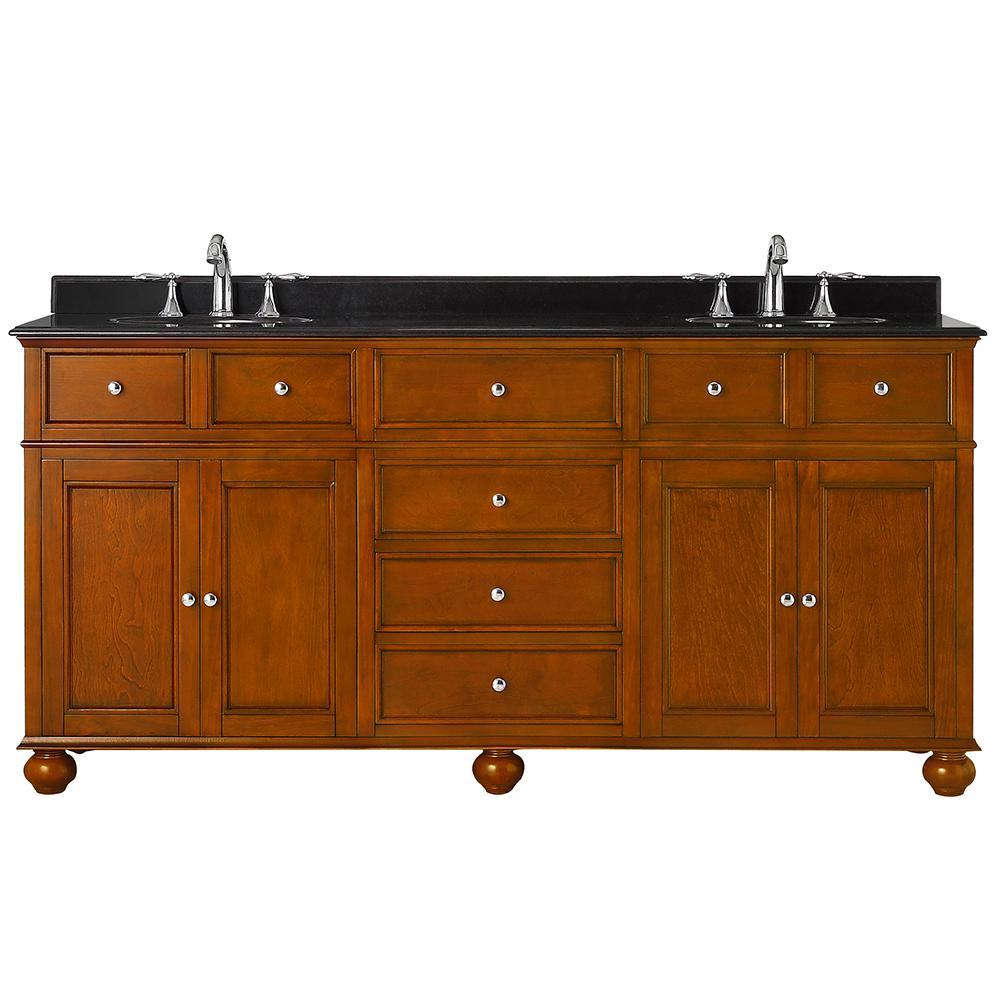 Home Decorators Collection Hampton Harbor 72 in. W x 22 in. D Vanity in Sequoia with Granite Vanity Top in Black with White Sink