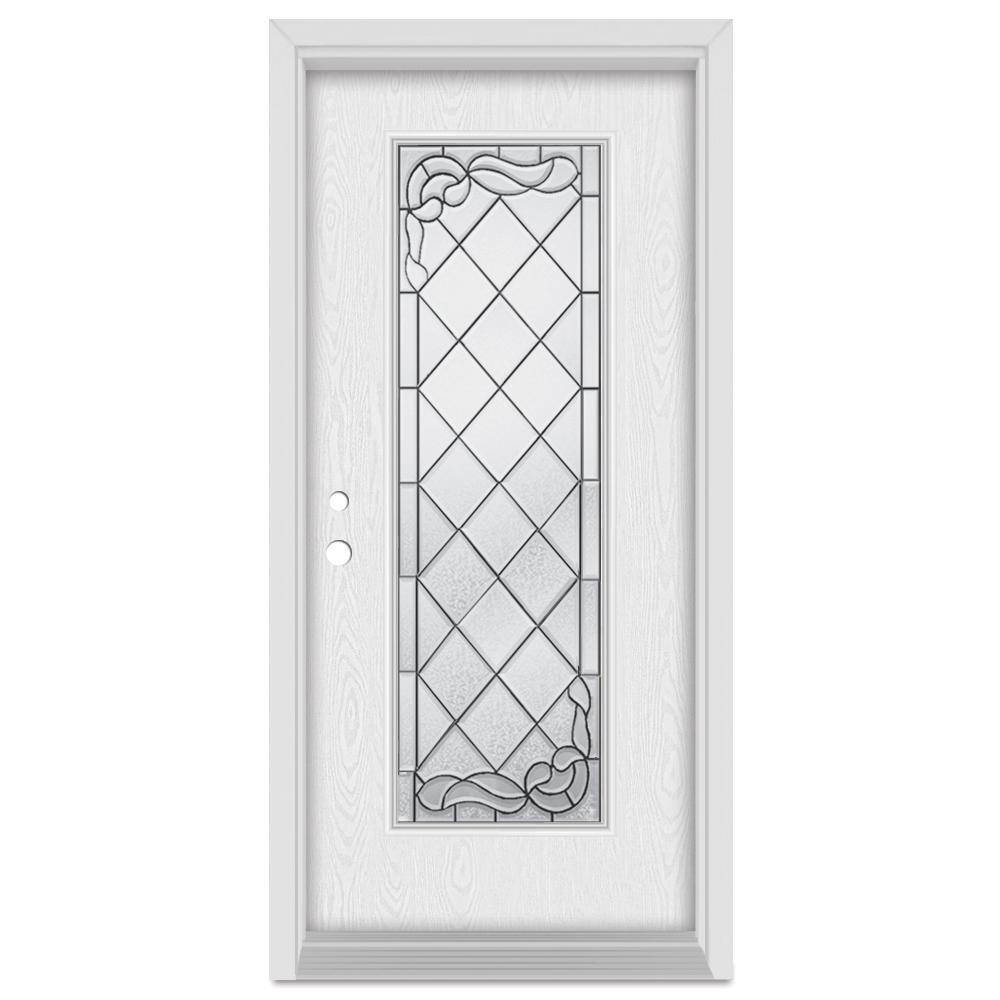 37.375 in. x 83 in. Art Deco Right-Hand Inswing Full Lite Patina Finished Fiberglass Oak Woodgrain Prehung Front Door
