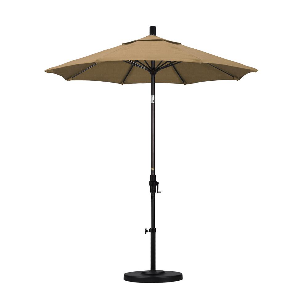 7-1/2 ft. Fiberglass Collar Tilt Patio Umbrella in Straw Olefin