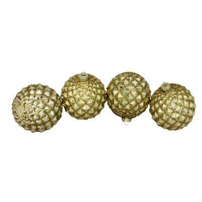 4 in. (100 mm) Gold Glitter Flake Christmas Glass Ball Ornaments (4-Count)