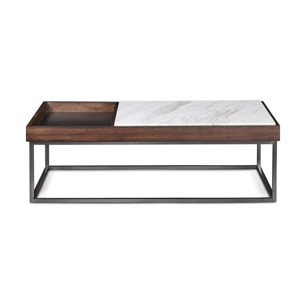 Ennis 16 in. Jazz Marble and Walnut Coffee Table