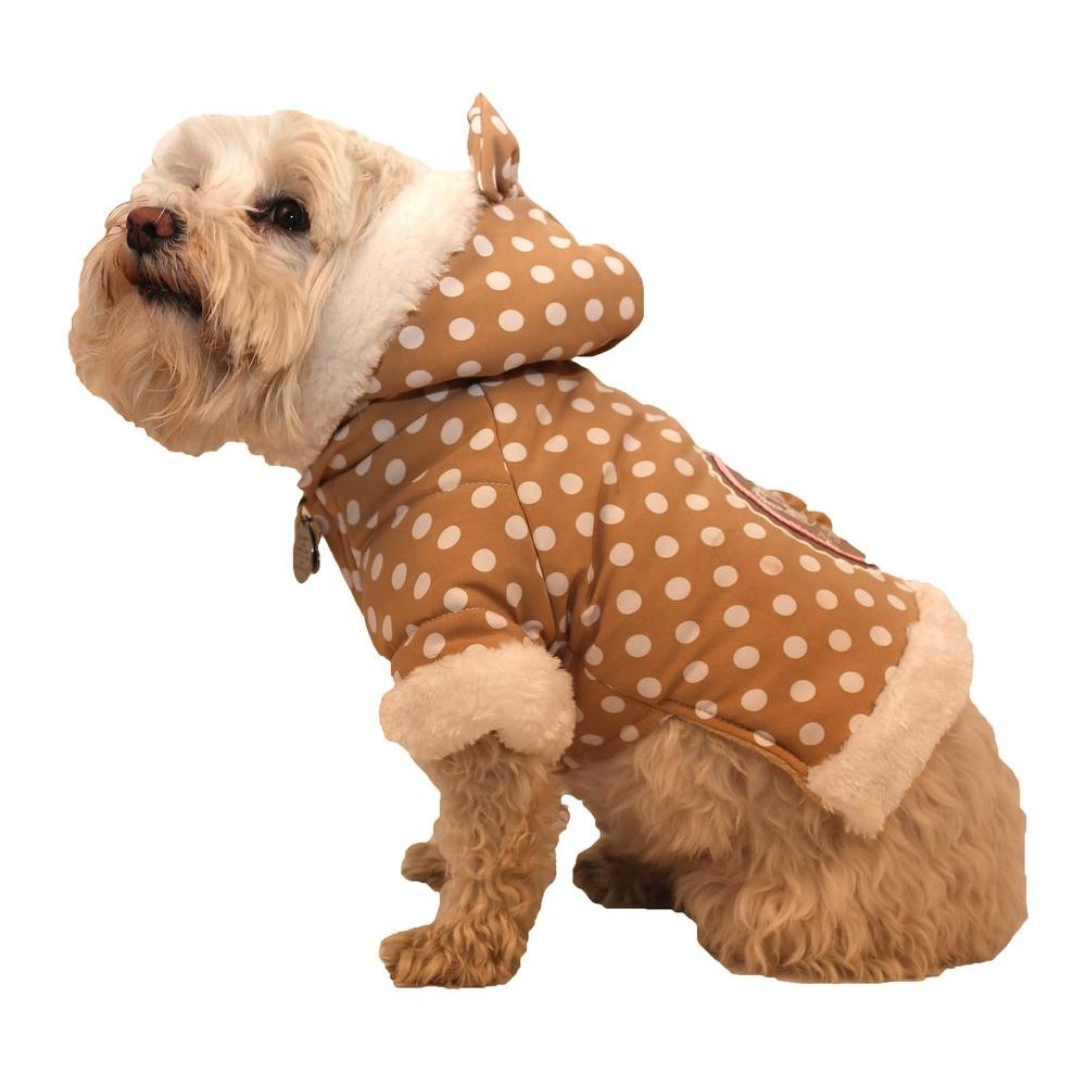 PET LIFE X-Small Brown Polka-Dot Couture-Bow Dog Hoodie Sweater with Faux Fur Fashion Hood