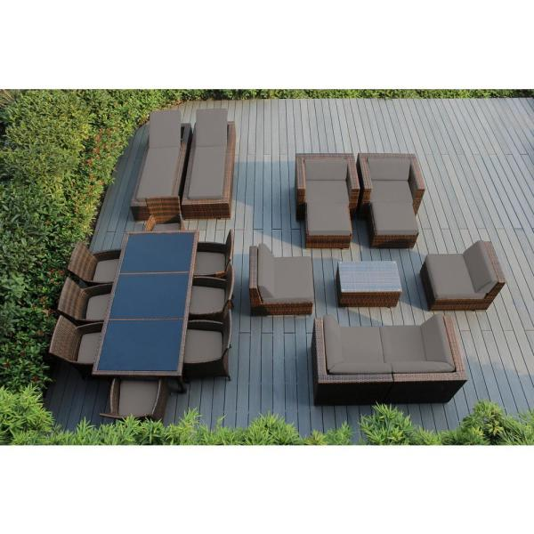 Mixed Brown 20-Piece Wicker Patio Combo Conversation Set with Sunbrella Taupe Cushions
