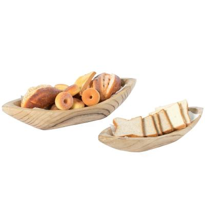 Wood Carved Boat Shaped Bowl Basket Rustic Display Tray - Set of 2