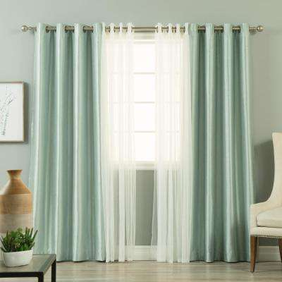 84 in. L uMIXm Tulle and Mineral Green Faux Silk Blackout Curtain(4-Pack)