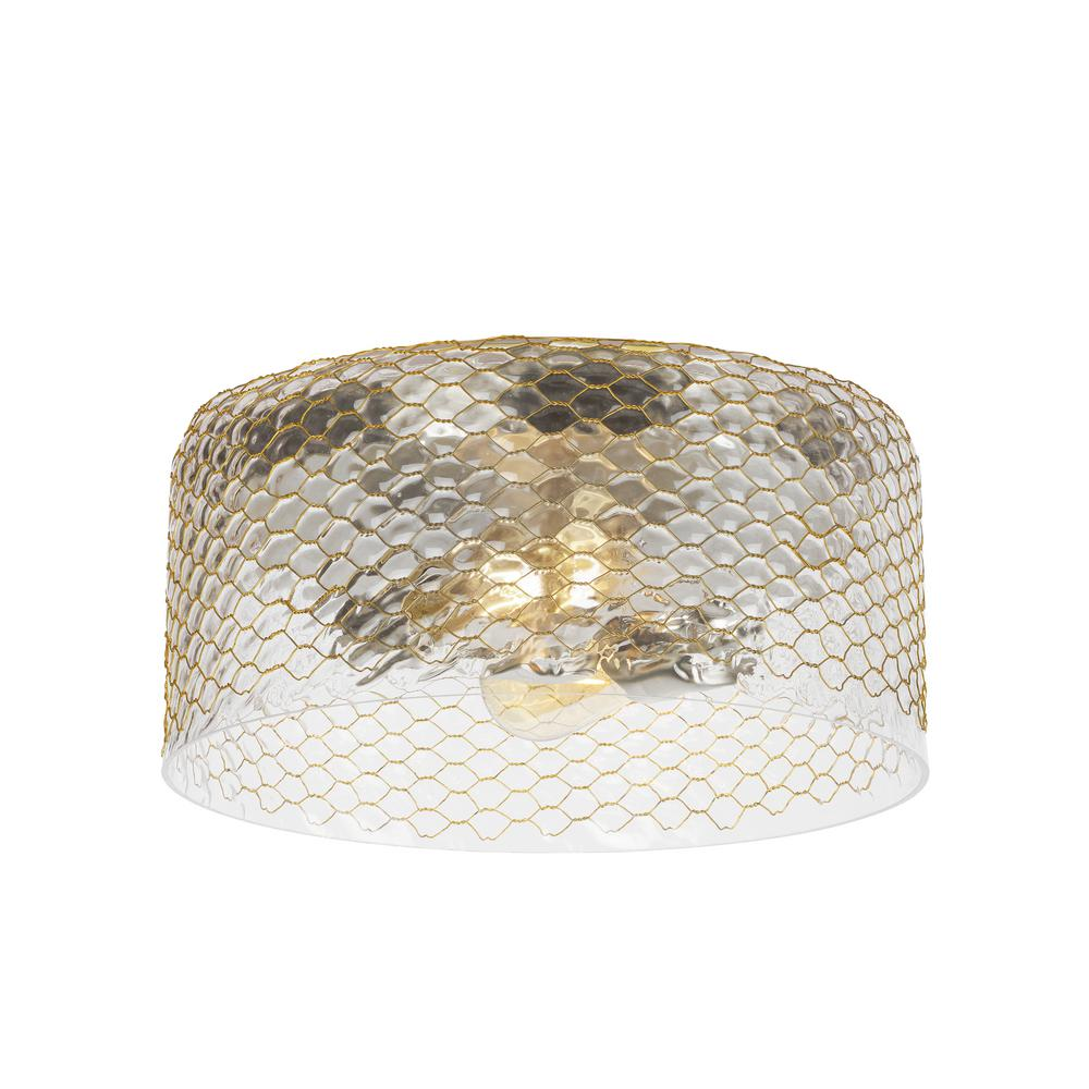 LBL Lighting Lania 2-Light Satin Nickel Flush Mount The Lania ceiling light by LBL Lighting features brass wire crafted into a honeycomb pattern that is pressed in a custom mold, into which clear glass is hand-blown and later textured to create a unique, layered effect. There is a rustic yet refined quality about this design that will nicely accent a whole host of interior decor whether industrial, country casual, eclectic transitional, urban chic or contemporary. Perfect for hallway lighting, dining room lighting, bedroom lighting, foyer lighting and bathroom lighting. The mounting has a Satin Nickel finish.