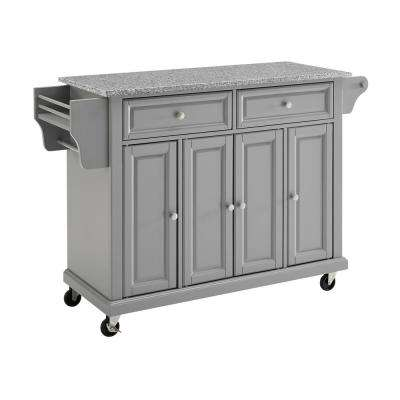 Full Size Grey Kitchen Cart with Solid Granite Top