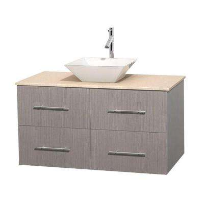 Centra 42 in. Vanity in Gray Oak with Marble Vanity Top in Ivory and Porcelain Sink