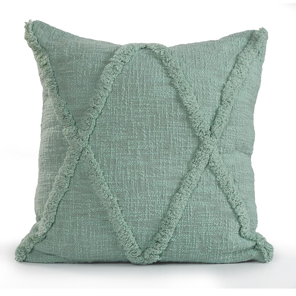 Criss Coss Misty Jade Geometric Hypoallergenic Polyester 18 in. x 18 in. Throw Pillow