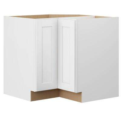 Shaker Ready To Assemble 33 in. W x 34.5 in. H x 33 in. D Plywood Lazy Susan Kitchen Cabinet in Denver White