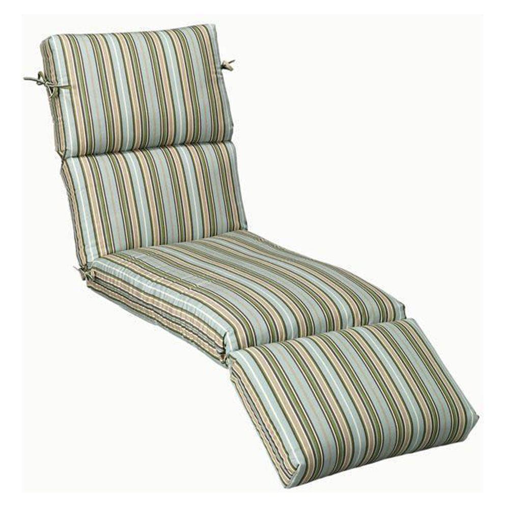 Home Decorators Collection Sunbrella Cilantro Stripe Outdoor Chaise Lounge Cushion