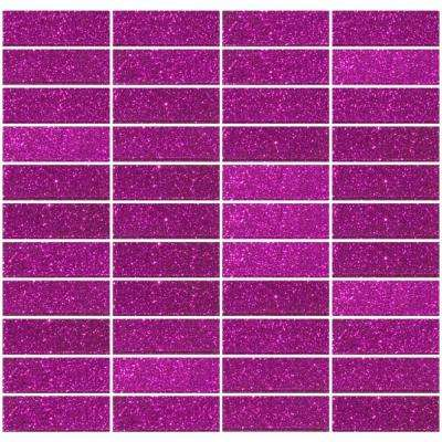 12 in. x 12 in. x 4mm Tile Esque Fuchsia Pink Glitter Glass Subway Stacked Mesh-Mounted Mosaic Tile