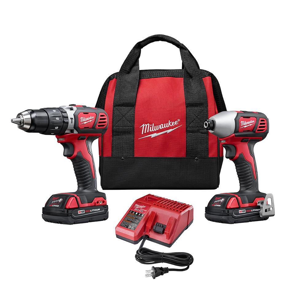 Milwaukee M18 18-Volt Lithium-Ion Cordless Hammer Drill/Impact Driver Combo Kit (2-Tool) w/(2) 1.5Ah Batteries, Charger, Tool Bag