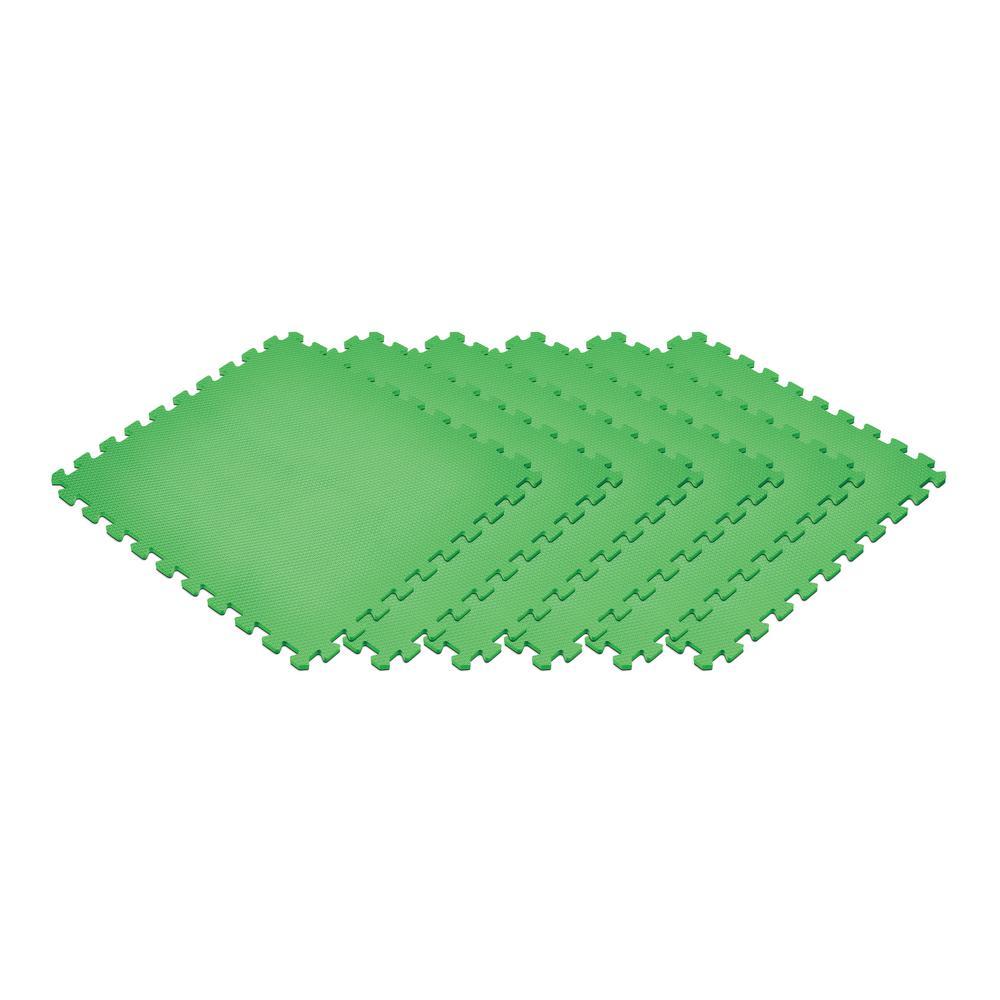 Green 24 in. x 24 in. x 0.47 in. Foam Interlocking Floor Mat (6-Pack)