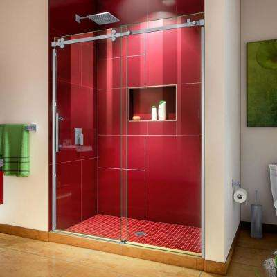 Enigma Sky 56 to 60 in. W x 76 in. H Frameless Sliding Shower Door in Brushed Stainless Steel