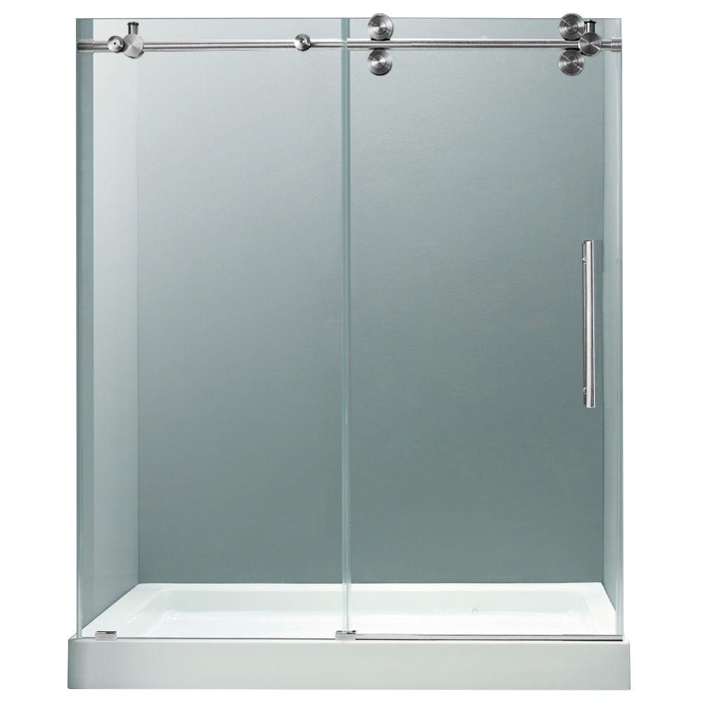 Vigo 59.75 in. x 74 in. Frameless Bypass Shower Door in Chrome with Clear Glass with White Base and Center Drain