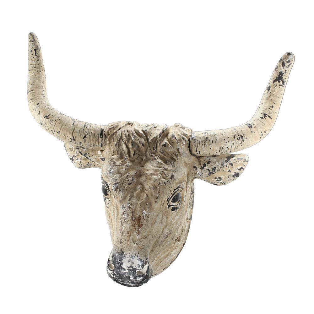 Ox Head Antique White/Black Wall Dcor