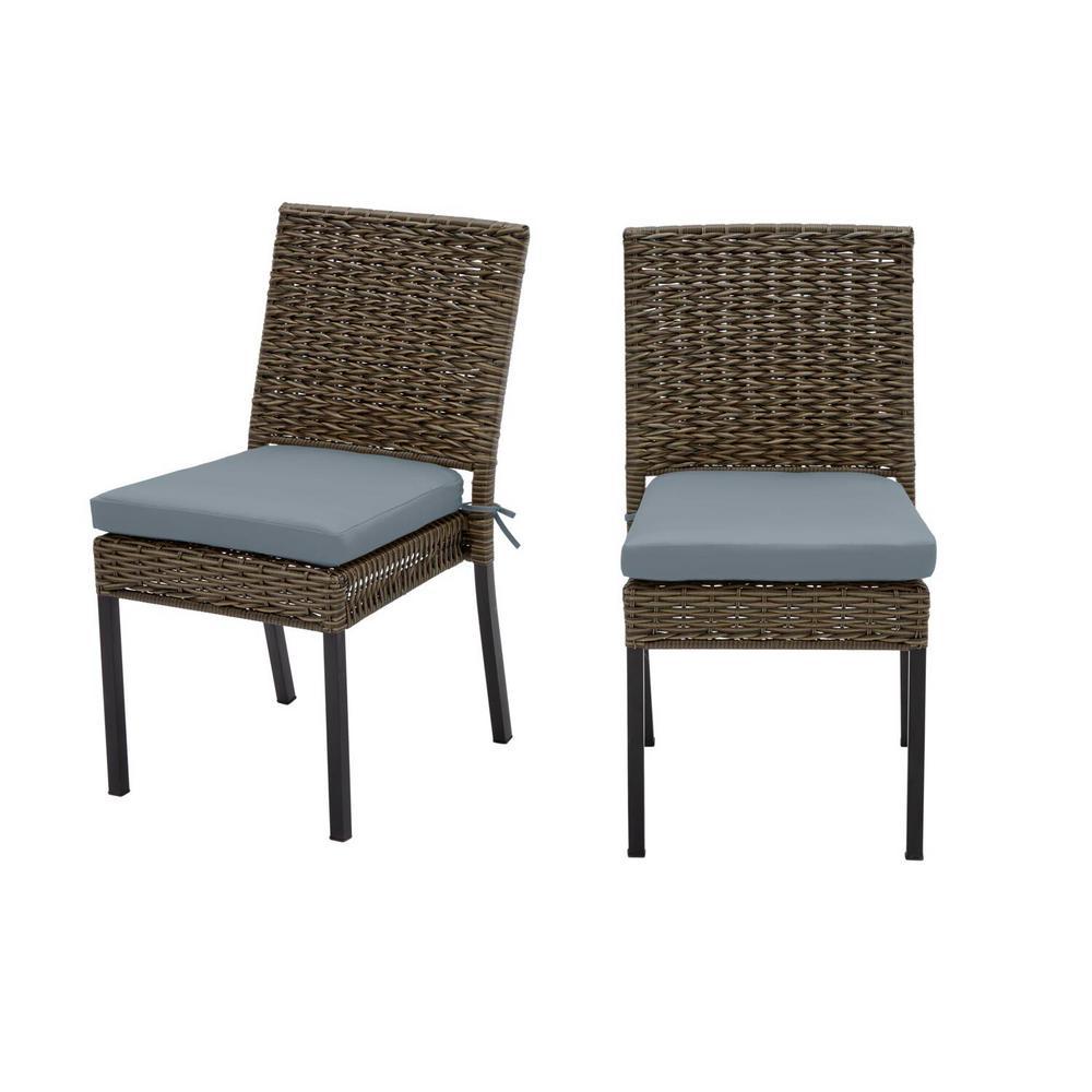 Laguna Point Brown Wicker Outdoor Patio Dining Chair with Sunbrella Denim Blue Cushions (2-Pack)