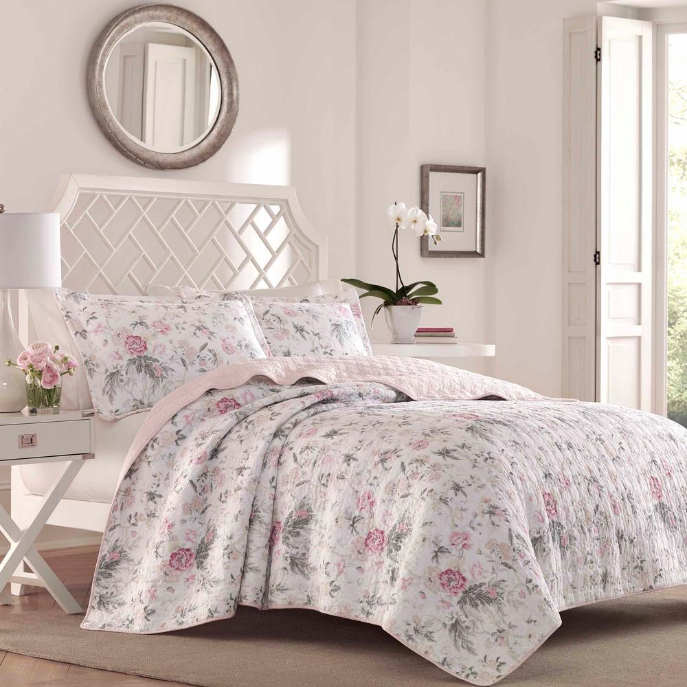 Breezy Floral 3-Piece Pink/Gray Cotton King Quilt Set