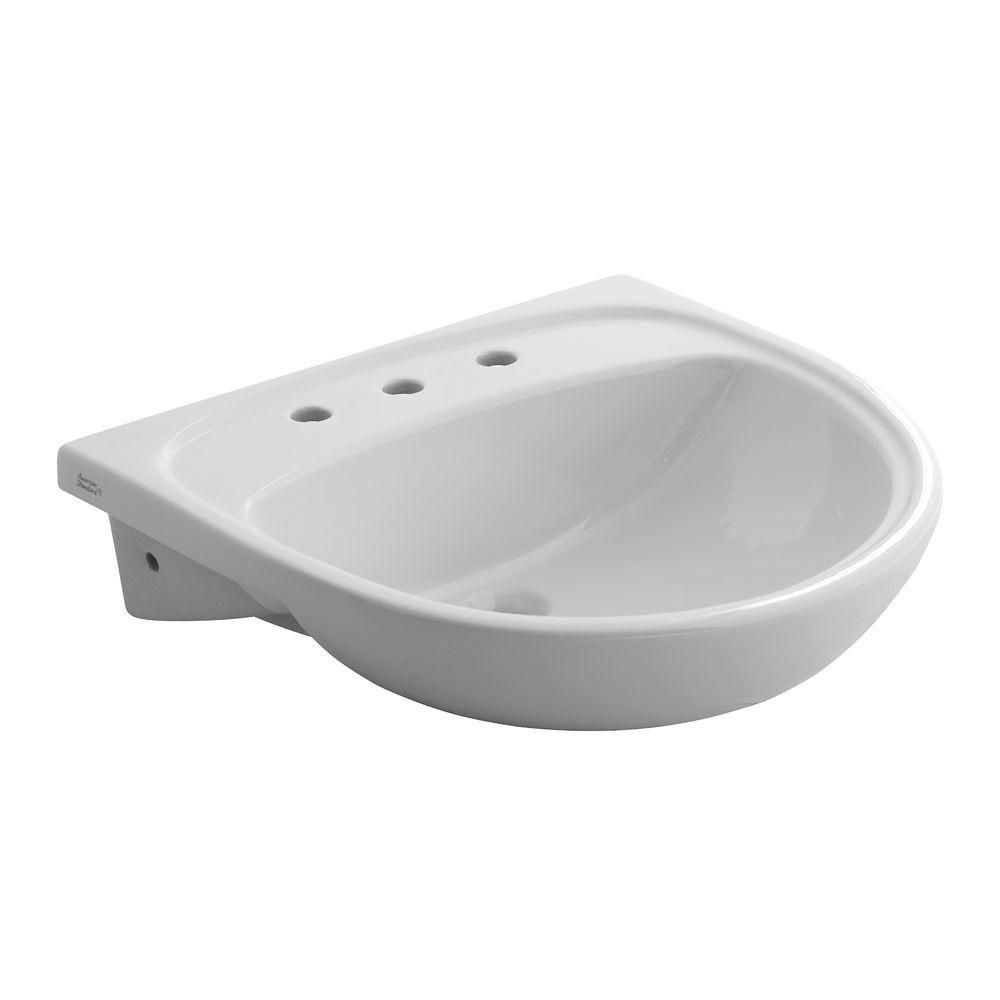 Mezzo Drop-In Semi-Countertop Bathroom Sink with 8 in. Center and Sealed
