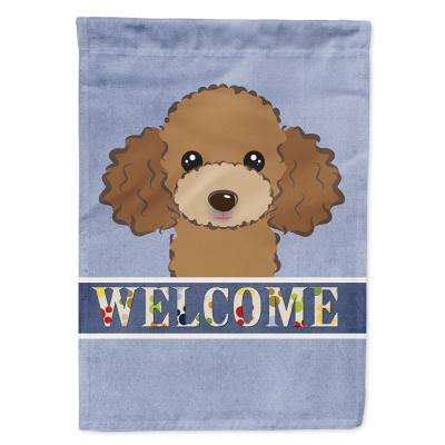 11 in. x 15-1/2 in. Polyester Chocolate Brown Poodle Welcome 2-Sided 2-Ply Garden Flag