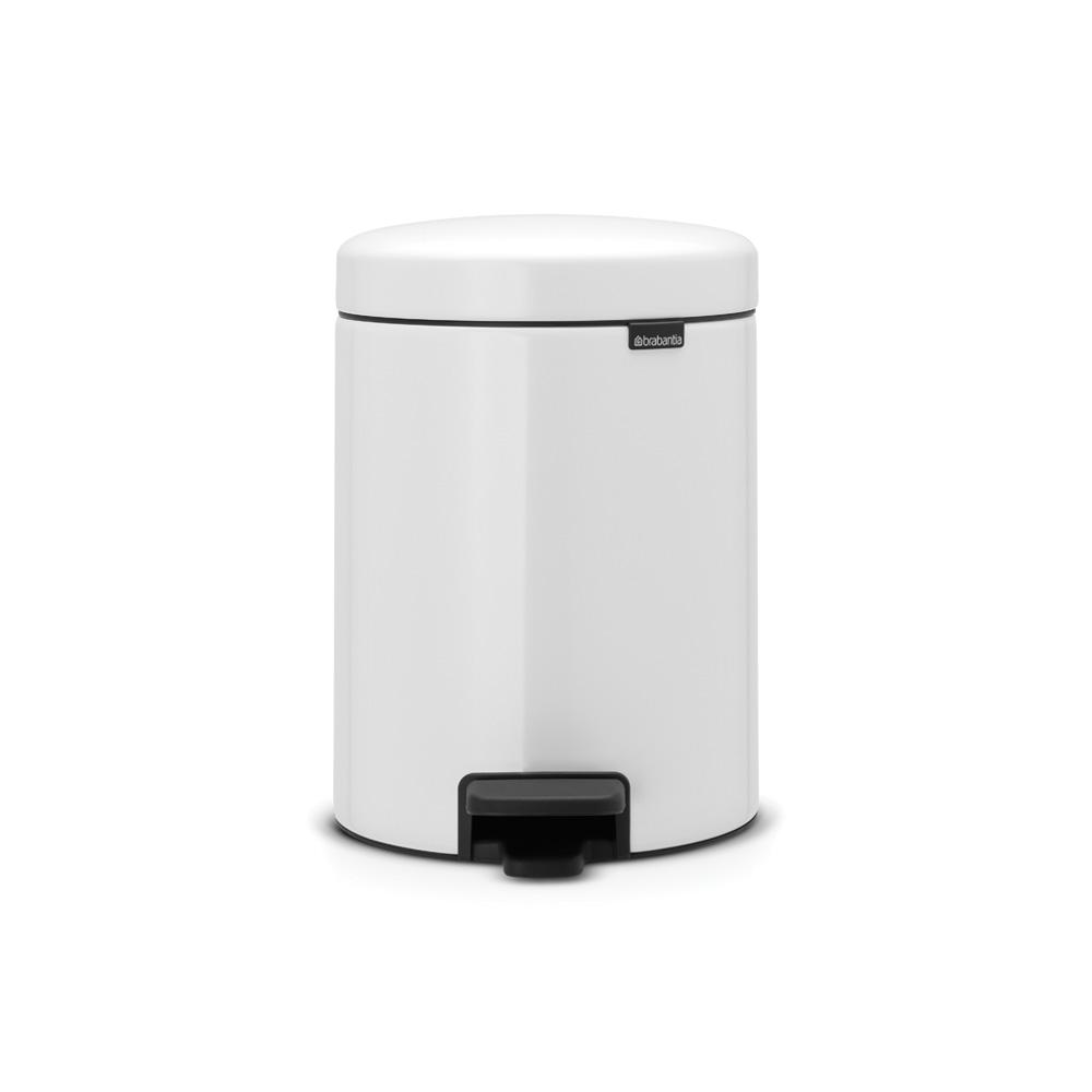 1.3 Gal. White Steel Step-On Trash Can