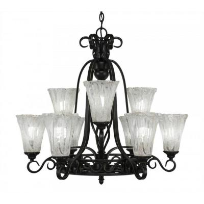 9-Light Dark Granite Chandelier with Italian Ice Glass Shade