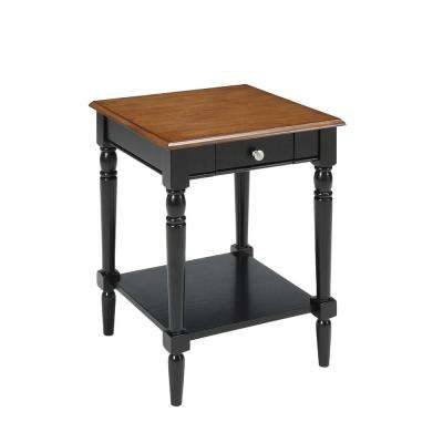 French Country Dark Walnut and Black Drawer and Shelf End Table