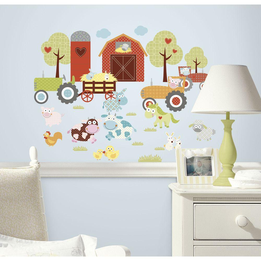 Kids Room Wall Decals Farm Wall Decals Farm Animal Decals: RoomMates 5 In. X 11.5 In. Happi Barnyard Peel And Stick