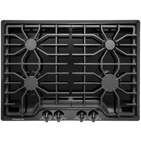 Frigidaire 30 in. Gas Cooktop in Black with 4 Burners