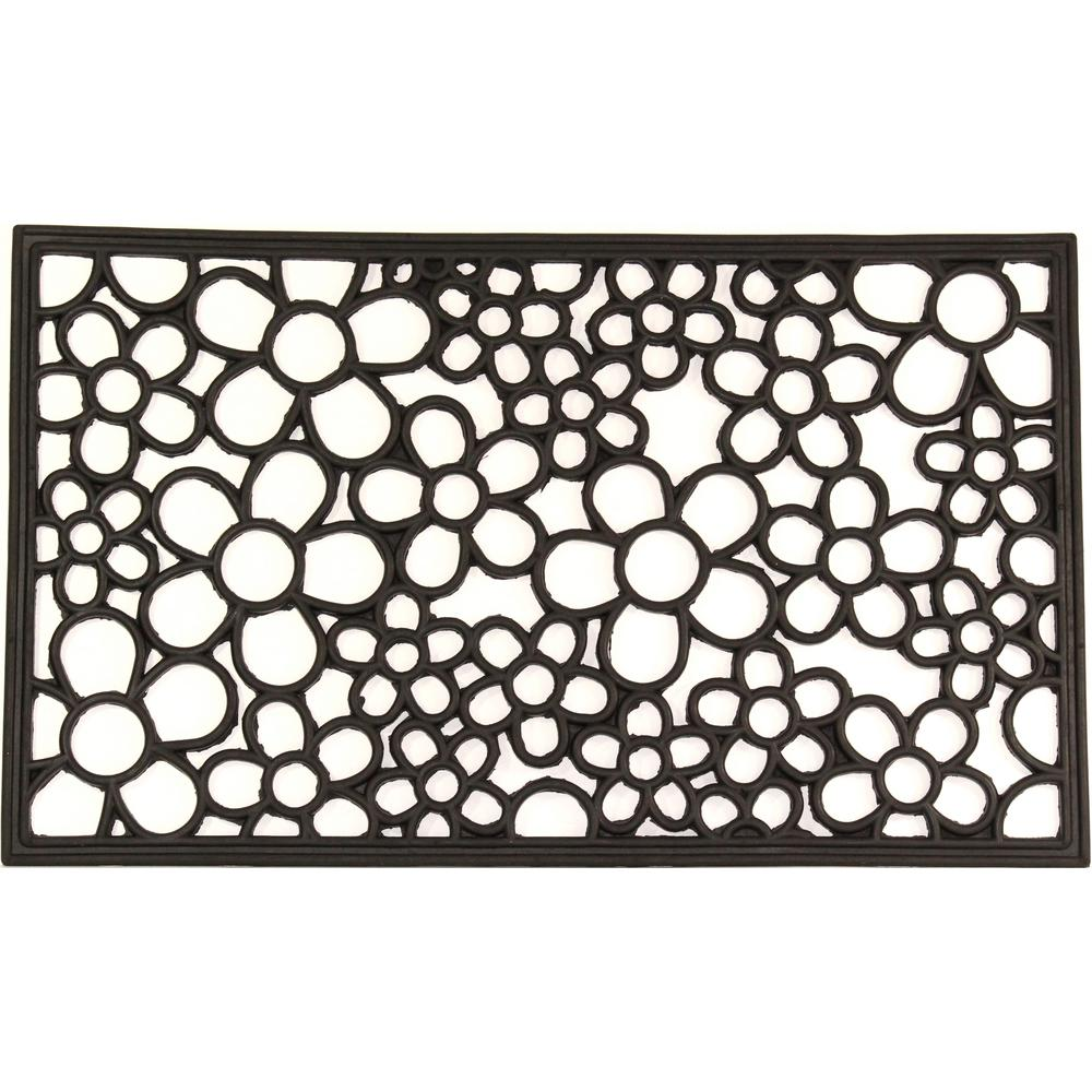 Wrought Iron Collection Black Floral 30 In. X 18 In. Rubber Outdoor/Indoor