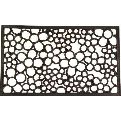 wrought iron collection black floral 30 in x 18 in rubber